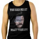 RON SWANSON YOU HAD ME AT MEAT TORNADO Men Black Tank Top Sleeveless