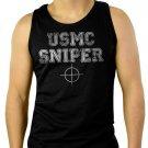 USMC SNIPER MILITARY MARINE CORPS VETERAN Men Black Tank Top Sleeveless