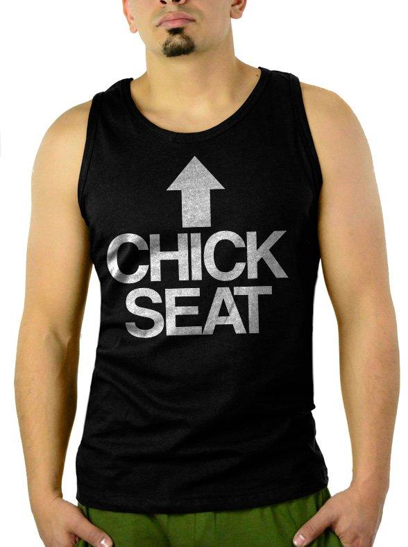 Chick Seat Funny Raunchy Christmas Men Black Tank Top Sleeveless