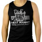 DICK'S MEAT MARKET Funny Humor Rude Not Eating Meat Men Black Tank Top Sleeveless