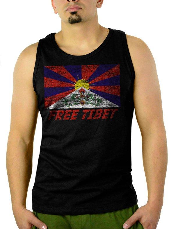 FREE TIBET Coexist Flag Dalai Lama Peace Human Rights Men Black Tank Top Sleeveless