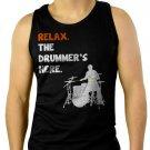Relax The Drummer's Here Men Black Tank Top Sleeveless