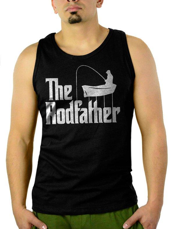 The Rodfather Pun Parody Fishing Men Black Tank Top Sleeveless