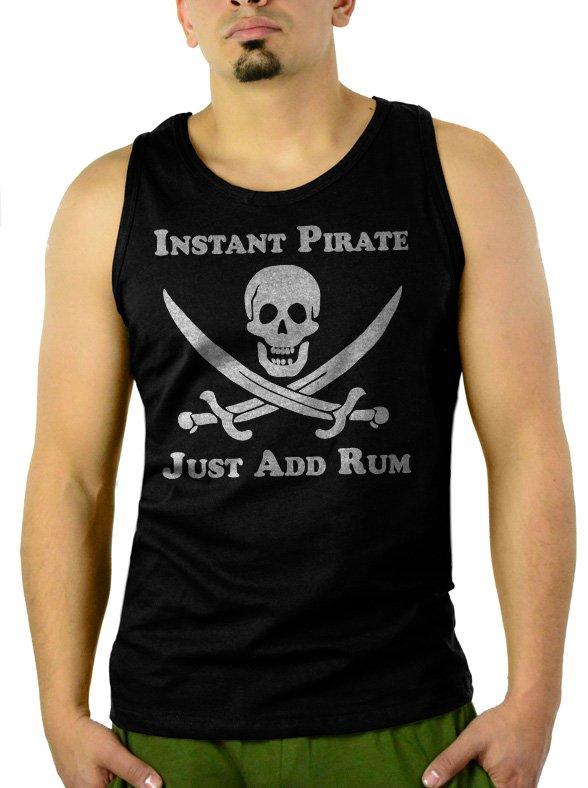 Instant Pirate Just Add Rum Men Black Tank Top Sleeveless