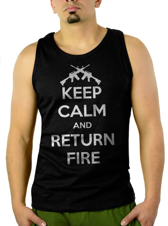 Keep Calm and Return Fire Men Tank Top Sleeveless