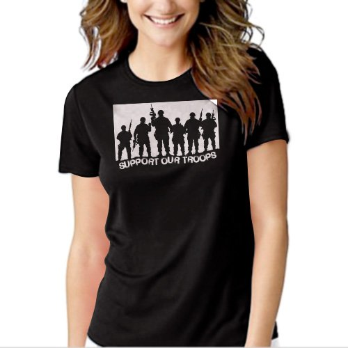 New Hot SUPPORT OUR TROOPS T-Shirt For Women