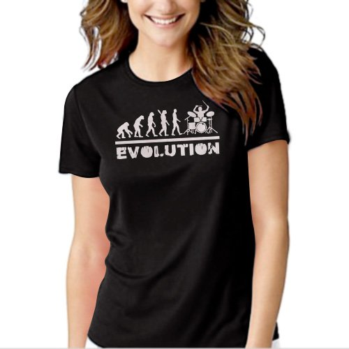 Drummer Evolution Funny Music humor Drums Black T-shirt For Women