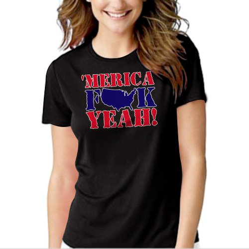 MERICA F$$K YEAH Black T-shirt For Women