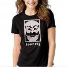 MR Robot F Society Black T-shirt For Women