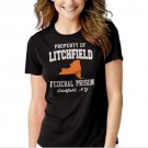 Property Of Litchfield Federal Prison NY Black T-shirt For Women