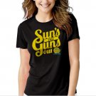 Suns out Guns out summer vacation Black T-shirt For Women