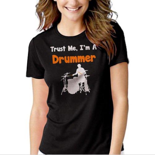 Trust Me I'm A Drummer Black T-shirt For Women