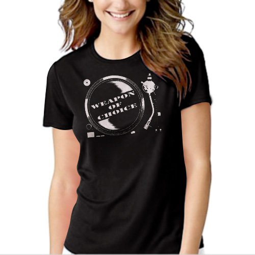 Weapon Of Choice DJ Turntable Club Black T-shirt For Women