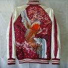 Japan KOI Fish Waterfall Sukajan Embroidery Baseball Souvenir Flight Jacket NWT