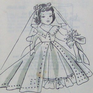 Vintage BRIDAL DOLL and Her Gown Pattern - 15 inches tall