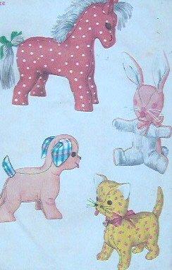 Vintage DOG, CAT, RABBIT and HORSE Stuffed Animal Pattern