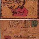 VINTAGE LEATHER POSTCARD, ca 1900's,lpc3