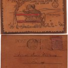 VINTAGE LEATHER POSTCARD, ca 1900's,lpc5