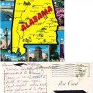 Oversize Colorful Alabama Map Postcard #PC63