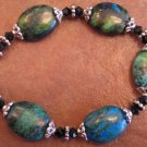 Handcrafted CHRYSOCOLLA JASPER and Jet Crystal Bracelet, JE2