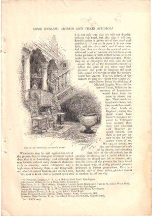 English Artists & Their Studios article, Century Mag,Aug.1882,AR11