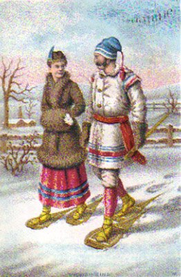 """SOAPINE Trade Card """"Snowshoeing"""", ca. 1880's, TC22"""
