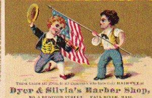 DYER & SILVIA'S BARBER SHOP Trade Card, ca. 1880's, TC27