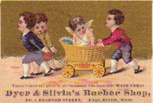 DYER & SILVIA'S BARBER SHOP Trade Card, ca. 1880's, TC26