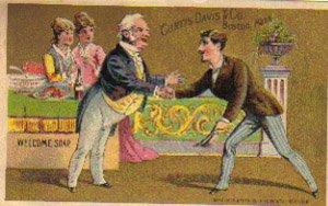 "CURTIS DAVIS & CO. ""Welcome Soap"" Trade Card, ca. 1880's, TC33"