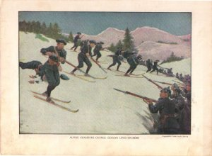 Alpine Chasseurs on Skis Color Plate WWI,  BP34