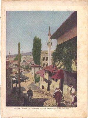 Sarajevo, Archduke Francis Ferdinand assassinated Color Plate WWI,  BP40
