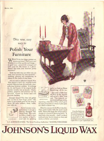 1926 Modern Priscilla Johnson's Liquid Wax  Ad AD143