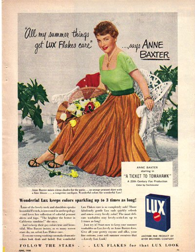 Lux Flakes Ad, Anne Baxter, 1950, AD160