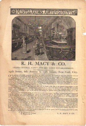 R. H. Macy & Co. New York City Ad, 1882, AD146