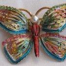 Vintage Enamel and Rhinestone Butterfly Brooch, VJ1