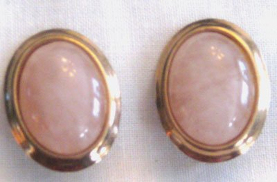 Vintage Gold Tone and Pink Cabachon Earrings, VJ2