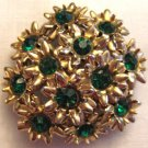Vintage Gold Tone and Rhinestone Floral Brooch, VJ12