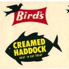 Bird's Creamed Haddock color label, LAB1