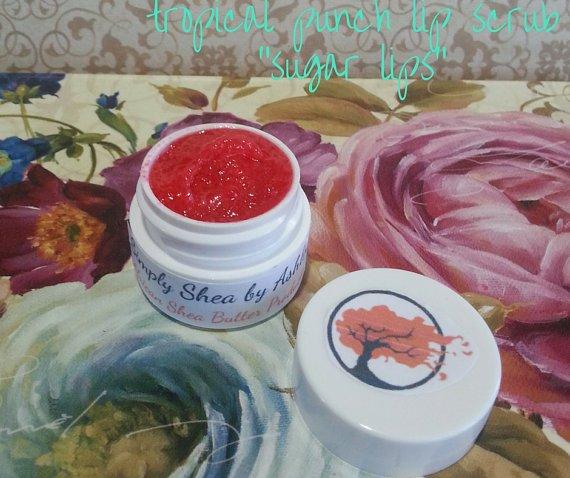 Tropical Punch flavored Sugar Lips lip Scrub ||  All Natural || Handmade