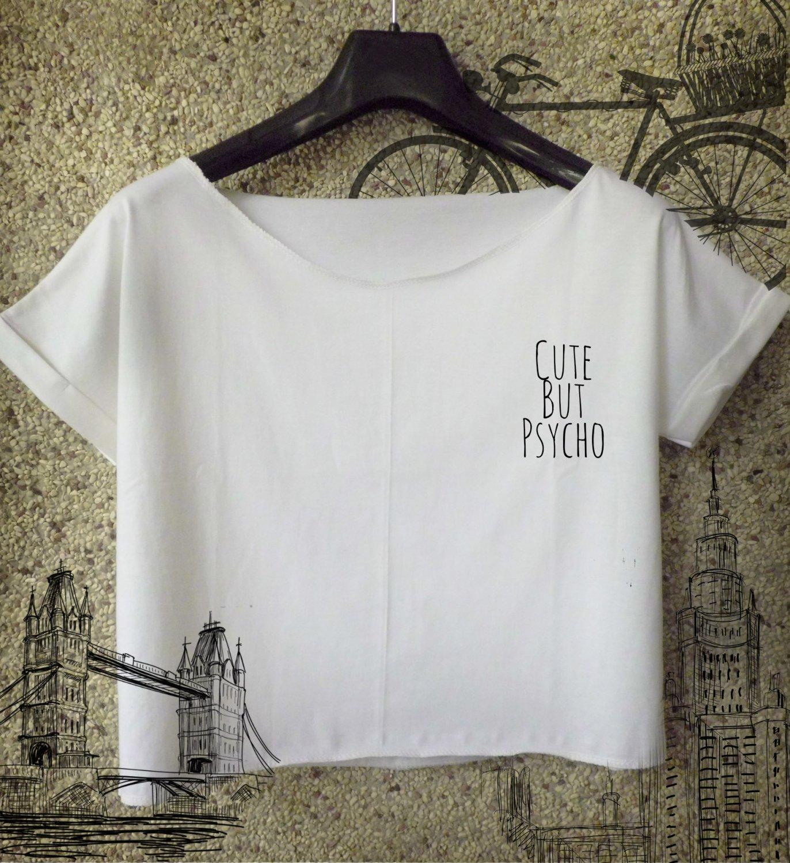 Cute But Psycho crop top AF Pocket Logo T Shirt Top Festival Concert Dope tee 2