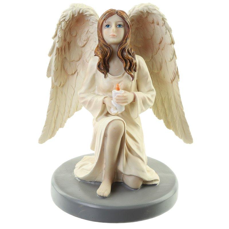 Candle Reflection Guardian Angel Figurine