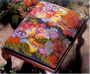 Abundance of Fruit Navy Cushion Needlepoint Kit by Glorafilia (gl4010)