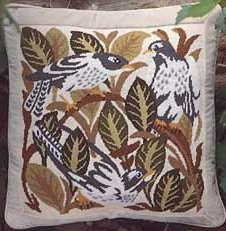 MAGPIES Cushion Needlepoint CANVAS Beth Russell William de Morgan