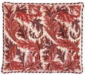 ACANTHUS LEAVES Red Cushion Needlepoint CANVAS Beth Russell William Morris