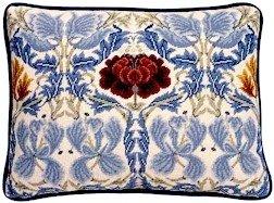 TULIP & ROSE Ivory Cushion Needlepoint KIT Beth Russell William Morris