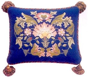 LODDEN 2 Blue background Cushion Needlepoint KIT Beth Russell William Morris