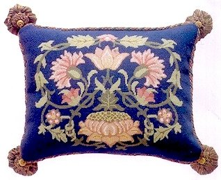 LODDEN 1 Blue background Cushion Needlepoint KIT Beth Russell William Morris