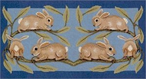 RABBITS RUG Needlepoint KIT Beth Russell William de Morgan