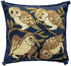 OWLS Needlepoint KIT Beth Russell William de Morgan