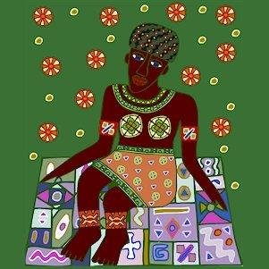 Woman African Folk Art Needlepoint Canvas (af1-4)